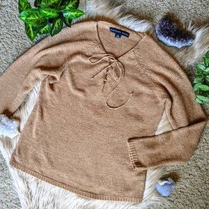 Vintage Josephine Chaus Lace-Up V-Neck Sweater